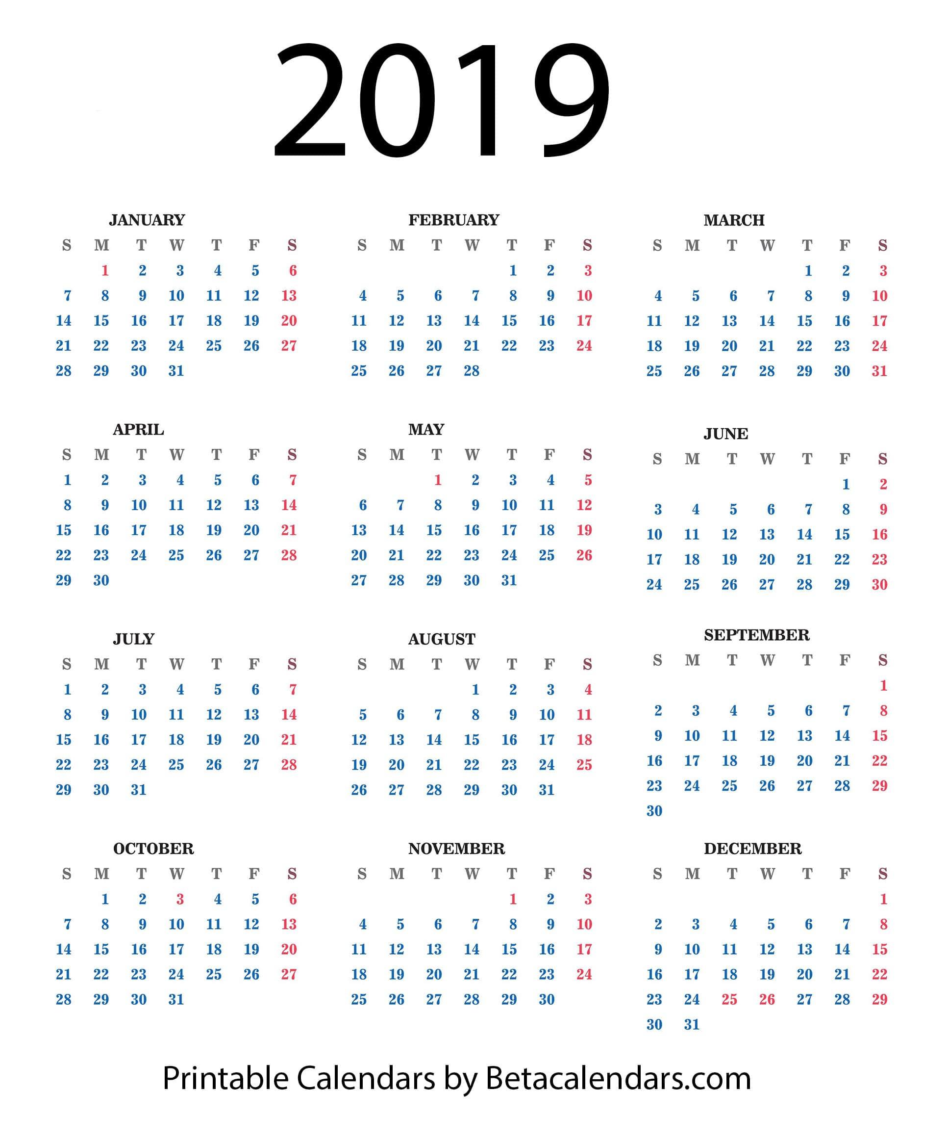 2019 Calendar - Beta Calendars_2019 Calendar Printing Johannesburg