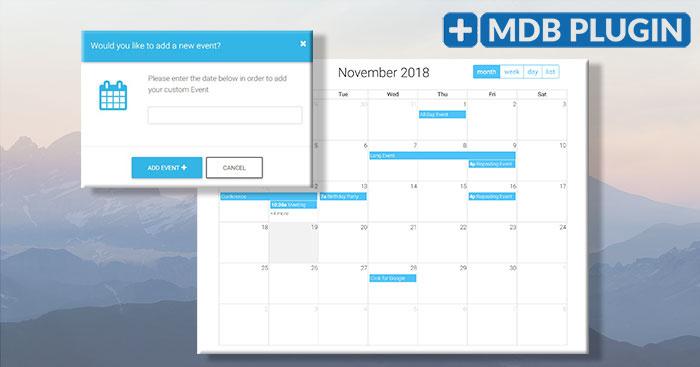 Angular Full Calendar Plugin - Bootstrap 4 & Material_Bootstrap 4 Datepicker Calendar Icon
