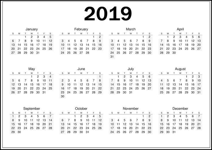 Free 2019 Calendar Printable Templates Blank Download | Calendar 2019 Template, Printable_2019 Calendar Printing Johannesburg