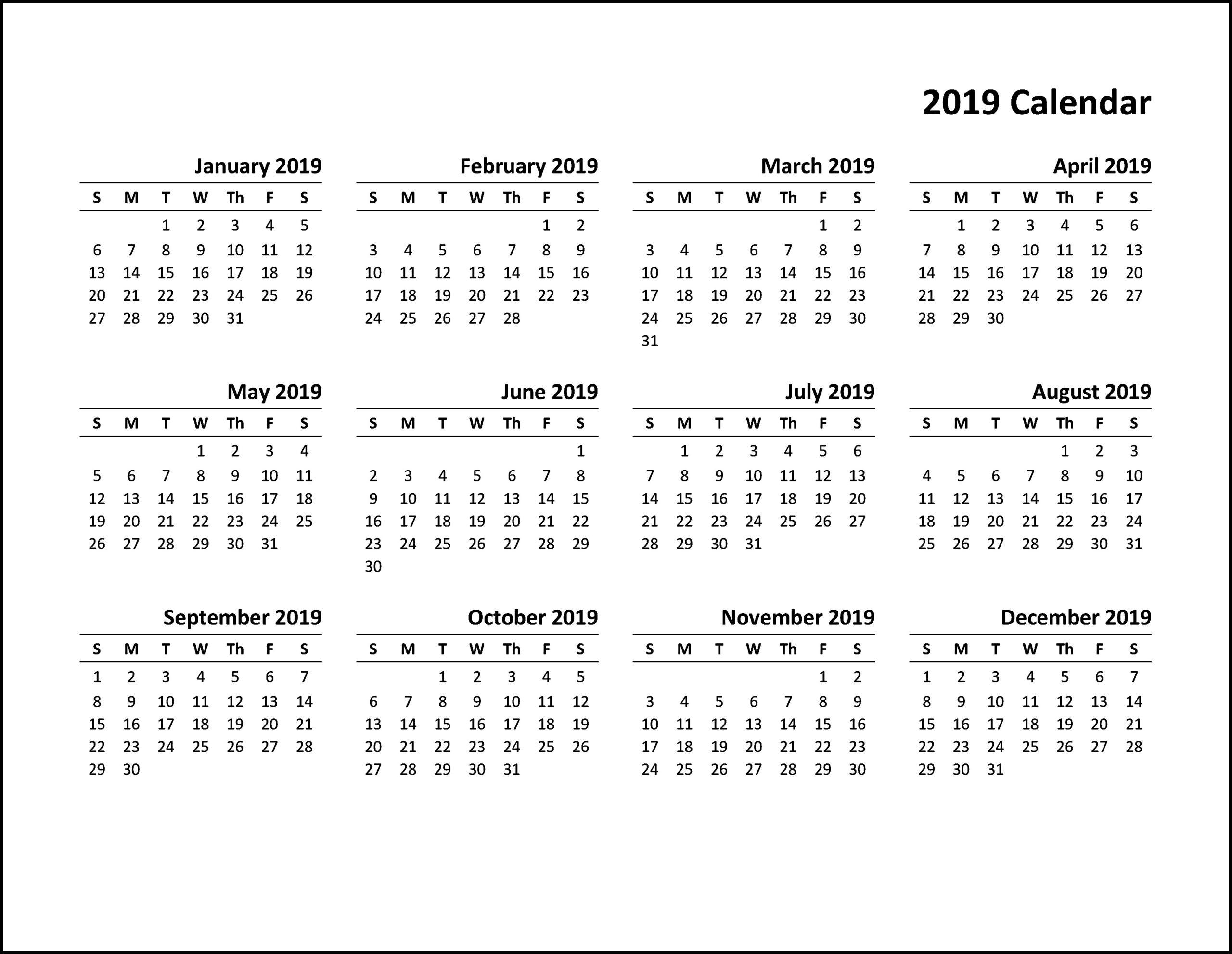 Printable Calendar 2019 Pdf, Word, Excel Template_2019 Calendar Printing Johannesburg