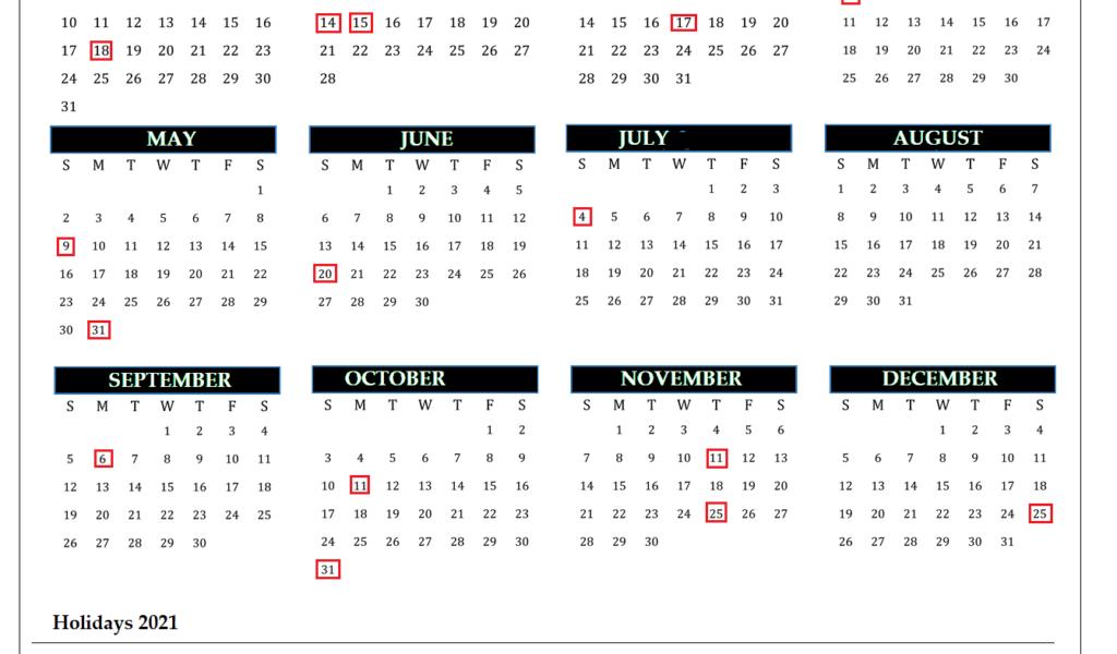 2021 Calendar: Free Printable Yearly One Page - Calendarglobal_Bulk Calendar Printing Us