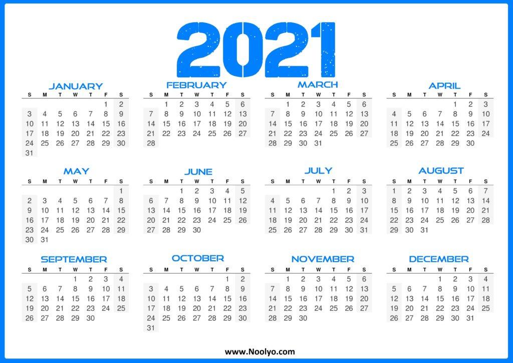 2021 Calendar One Page Printable - Noolyo_Bulk Calendar Printing Us