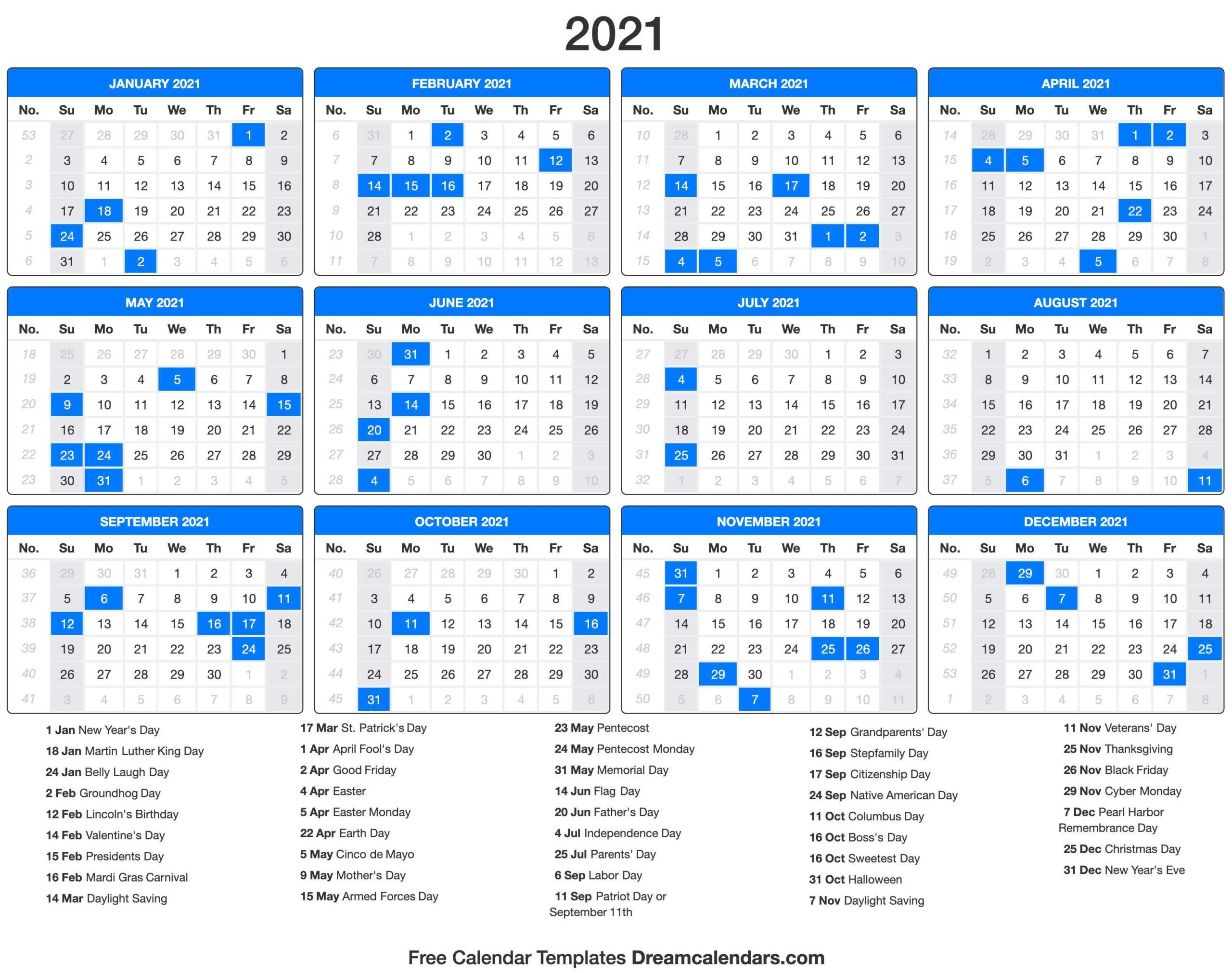 2021 Calendar Printable Pdf With Holidays | 2021 Printable_Bulk Calendar Printing Us