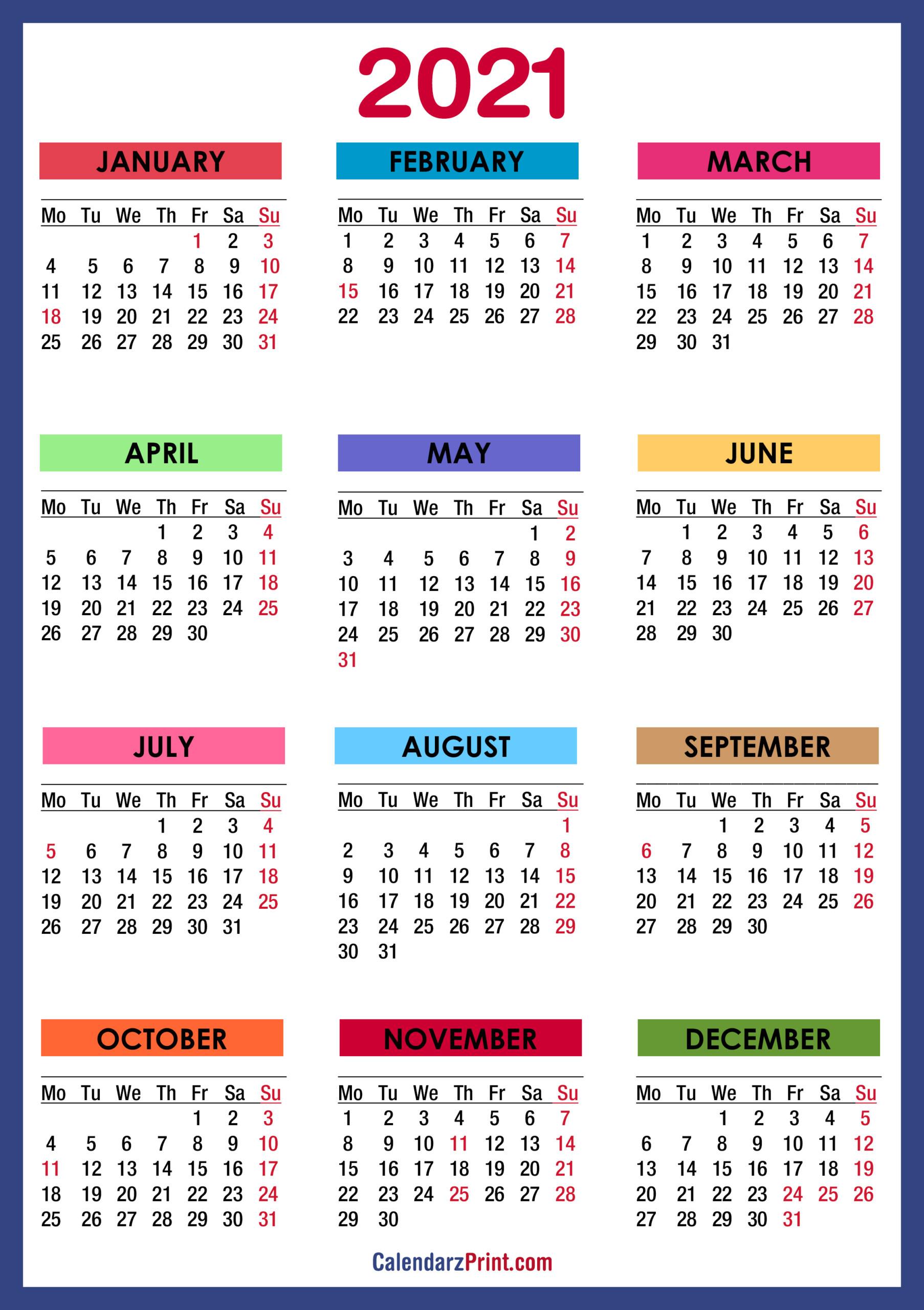 2021 Calendar Printable With Holidays Usa | 2021 Printable_Bulk Calendar Printing Us