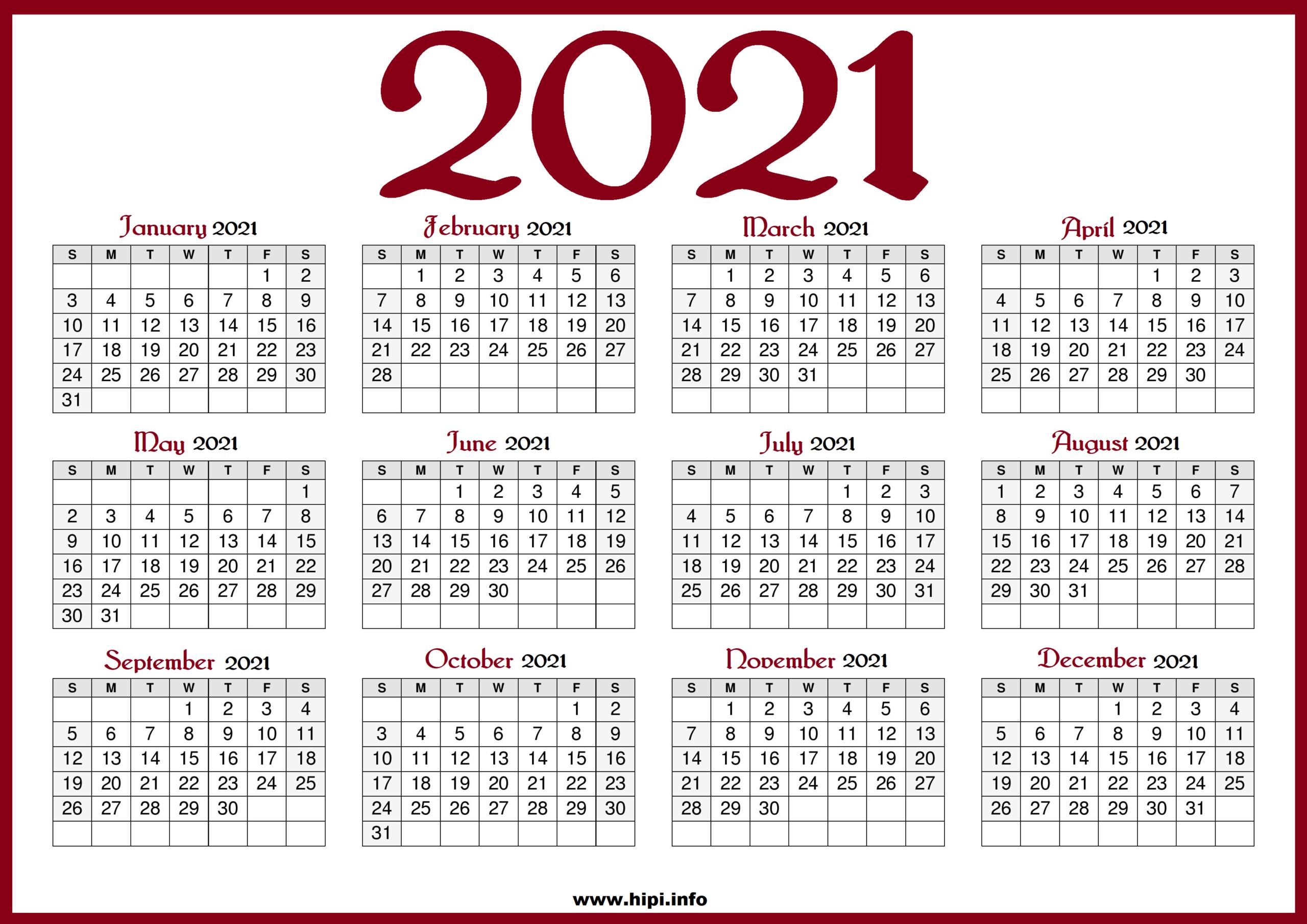 Us Printable Calendar 2021 | Printable Calendar 2021_Bulk Calendar Printing Us